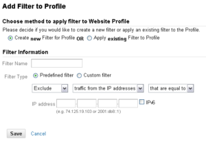 Selecting IP Address for Google Analytics filtering