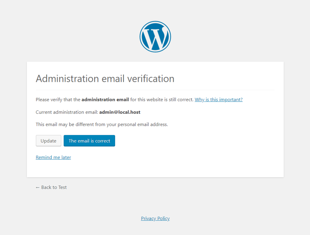 admin email verification screen