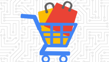 shopping cart icon with bags