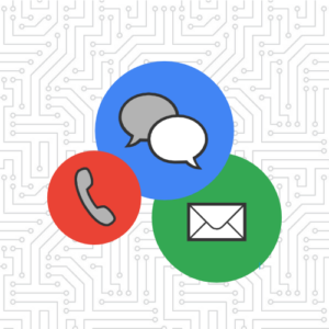 customer support graphic with phone, messaging, and email
