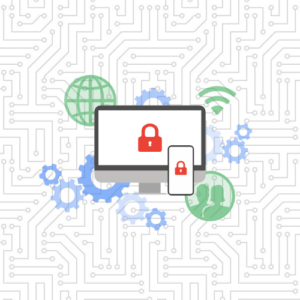 Cybersecurity graphic with desktop and mobile