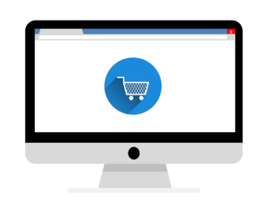 Graphic of desktop computer displaying an eCommerce shopping cart
