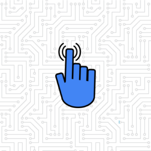 blue pointer finger tapping graphic