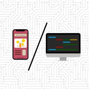 phone showing frontend, desktop showing backend