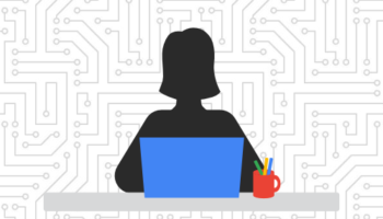 silhouette of girl at desk with laptop graphic