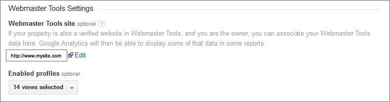 Google Analytics Webmaster Tools Association Options