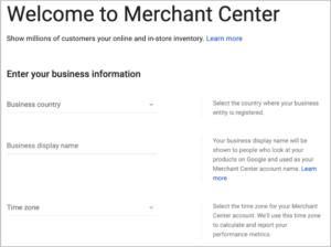 google merchant center welcome