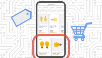 Google Shopping tab on mobile graphic with shopping cart and price tag