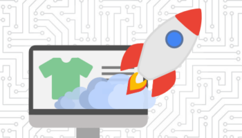 Rocket launching out of ecommerce site on desktop