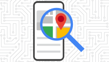 local seo graphic with mobile phone and magnifying glass