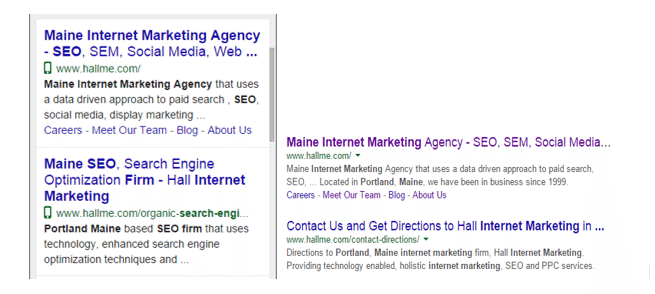 Mobile and desktop search results compared