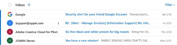 Outlook email inbox desktop