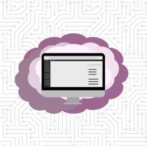 Computer with purple cloud